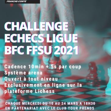 Participez au Challenge Echecs les 10 , 17 et 24 mars !